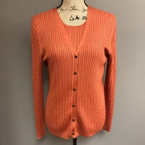 Brooks Brothers Silk & Cashmere Cable Cardigan Set